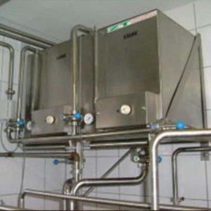 Stapelreinigung für Plattenpasteure, beheizte Lauge-, und Säurebehälter, Ventile